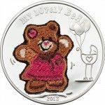 6091 # Palau $5 2012 PRATA PROOF Ø39 com urso de pelúcia em tecido! Emissão de apenas 2012 Peças!