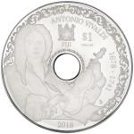 6504 Fiji 1 $ 2019 Moeda em forma de CD de prata  que toca musica  Ø 78mm - Antonio Vivaldi - apenas 700 moedas no mundo