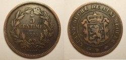 1050 ¤ESCASSA¤ LUXEMBURGO 1855a 5 Cent Catalogo R$ 70!!!