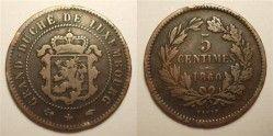 1051# ¤ESCASSA¤ LUXEMBURGO 1860a 5 Centimes