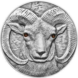 6165 Mongólia 500 Togrog 2013 Prata Antique Finish - Cabra - Série Animais Selvagens