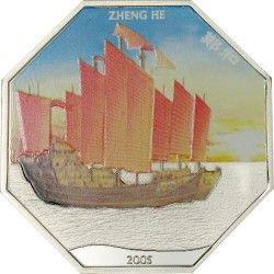 2691¤RARA¤ SOMALIA 4000 Sh. 2005 Hectagonal Prata Color - Navegador Zheng He: Barco chinês