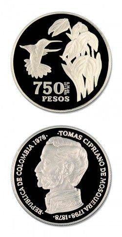 2757 ¤RARISSIMA¤ COLOMBIA 750 Pesos 1978 PRATA PROOF