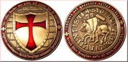 2847# ¤RARA¤ MEDALHA (GEOCOIN) dos Cavaleiros TEMPLARIOS! Mod. Ouro