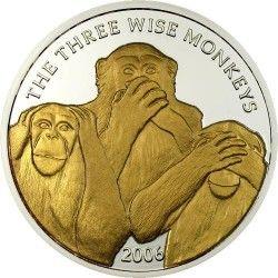 """2964 ¤RARA¤ SOMALIA 4,000 Shillings 2006  """"Os 3 macacos"""" PRATA/OURO PROOF  Ø 39mm Tiragem 2500 ex."""