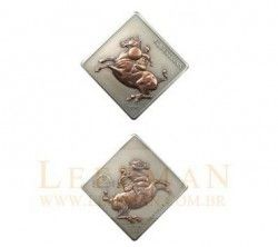 """2973# Mongolia 2005 - Da Vinci """"Arte equestre"""" PRATA com aplique em Bronze"""