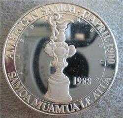 2980# AMERICAN SAMOA 1988 U$ 5 Dollar Prata Proof Comemorativa Copa America