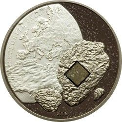3261# Cook Islands 5$ 2008 PRATA e PALADIUM Proof Ø39mm com meteorito!