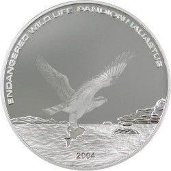 3379 # MONGOLIA 500 Tg 2004 Prata Proof Ø38mm. Vida Selvagem: Águia - Com efeito especial!