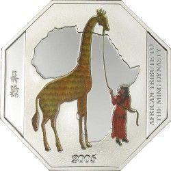 3382 ¤RARA¤ SOMALIA 4000 Sh. 2004 Octagonal Prata Color - Navegador Zheng He: Girafa