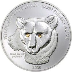 3387 ¤RARA¤ MONGOLIA 500 Tg 2006 Prata Proof Ø39mm. Vida no Deserto: Lobo Com Cristal SWAROVSKI