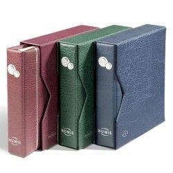 Álbum para moedas NUMIS em couro sintético contendo 5 folhas e estojo de proteção