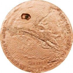 3544 ¤RARÍSSIMA¤ COOK ISLANDS 5 Dollars 2009 Comemorativa planeta MARTE c/ fragmento de meteorito!