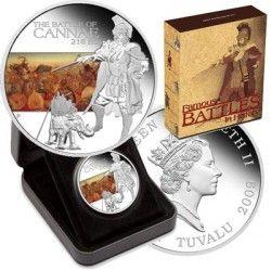 "3577 # TUVALU 1 Dollar 2009 ""Batalha de CANNAE"" PRATA PROOF COLORIZADA Ø40mm"