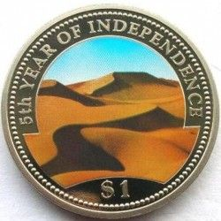 3610 ¤RARA¤ NAMIBIA 1 Dollars 1995 CuPo FC Ø39mm COLORIDA Aniversario de independencia