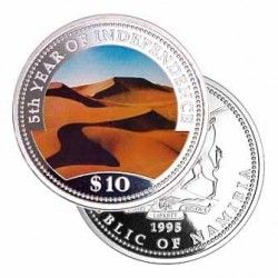 3611 ¤RARA¤ NAMIBIA 10 Dollars 1995 PRATA PROOF Ø39mm COLORIDA Aniversario de independencia