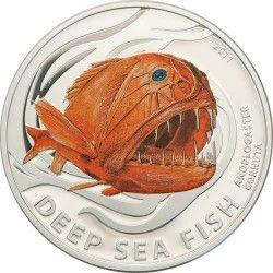 3677 # ILHAS PITCAIRN $2 2011 Prata Proof 4ª Moeda da Série Criaturas abissais: Peixe Anoplogaster Cornuta