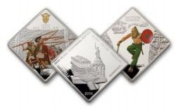 3785 # PALAU SET COMPLETO 3x 1 Dollar 2009 PROOF COLORIDA Série batalha de Teutoburgo: GERMANIA