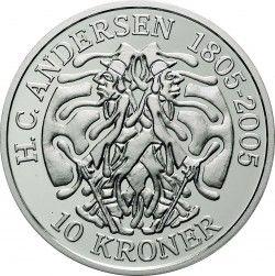 3800 # DINAMARCA 10 Kroner 2006 PRATA 38mm 1 Oz  PROOF Série: Contos de Andersen
