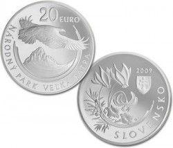 3815 # ESLOVAQUIA 20 Euros 2009 PRATA BU Ø40 mm Proteção da natureza