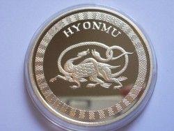 """3831 # COREIA DO NORTE 20 WON 2007 PROOF CuPo/OURO Ø40mm """"Dragões""""  (Metal: CuPo banhado a ouro)"""