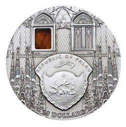 3916 # RARA PALAU 10 Dollar 2009 PRATA 50mm Catedral SAGRADA FAMILIA (Espanha)