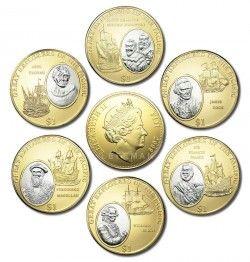 """3952 ¤RARO¤ SET 6 moedas FIJI $1 2009 em RODIUM e OURO 39mm Série """"Grandes exploradores do pacífico"""""""