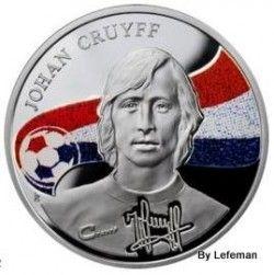 """3967 # ARMENIA 100 Dram 2010 PRATA PROOF Ø39mm Série Reis do Futebol """"Johan Cruyff """""""