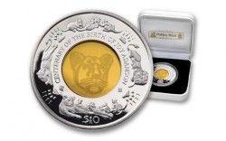 4029 # SIERRA LEONE 10 Dollars 2010 em CRISTAL e PRATA PROOF Ø39mm LEÃO