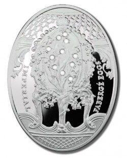 4042 # NIUE 2 Dollars 2010 PRATA PROOF C/ CRISTAIS Série Ovos Imperiais Faberge
