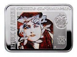 4107 ¤RARA¤ ARMENIA 100 DRAMS 2010 PRATA PROOF COLORIDA Série Pintores Universais: TEODOR AXENTOWICZ