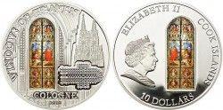 4144 *RARA* ILHAS COOK $10 2010 PRATA Ø50mm Série VITRAL I: Catedral de Colonia Tiragem: 2000 pçs!