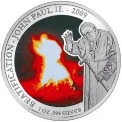 5280# Samoa 5 Dollars 2009 Prata Proof Color Ø39mm Imagem miraculosa de João Paulo II