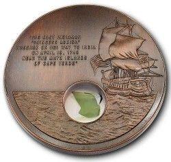 5281 ¤RARISSIMA¤ LIBERIA 10$ 2001 FC Ø100mm C/ Fragmento de naufragio do ano 1743!
