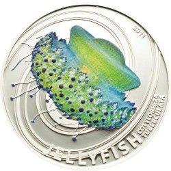5284 # ILHAS PITCAIRN 2 Dollars 2011 PRATA PROOF Série Agua-viva: Cotylorhiza Tuberculata Tiragem: Apenas 1000 pçs!