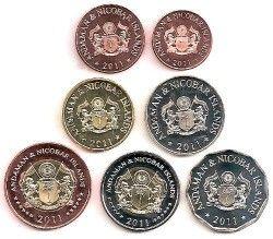 5310 ¤RARO¤ Ilhas ANDAMAN e NICOBAR 2011 Set com 7 moedas UNC incluso duas Bi-metalicas (Tiragem rara!)