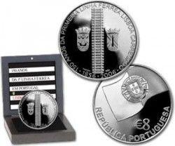 5379 # PORTUGAL 8 Euros 2006 PRATA PROOF Ø30mm 150 Anos 1ª Linha Férrea em Portugal Lisboa C/ Estojo e Certificado!