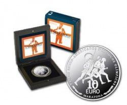 5385 # PORTUGAL 10 Euros 2007 PRATA PROOF  Ø40mm A Maratona  C/ Estojo e Certificado!
