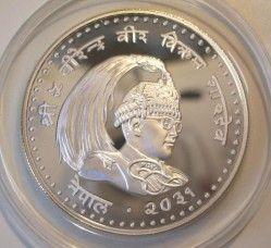 5496 # NEPAL 100 Rupee 1981 PRATA PROOF Ø36mm Nações Unidas