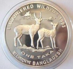 5499 # ¤RARA¤ BANGLADESH 1 Taka 1993 PRATA PROOF Ø38mm Vida selvagem
