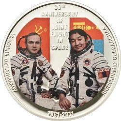 5576 # MONGOLIA 500 Tenge PRATA PROOF Ø39mm 30º Aniversário voo espacial