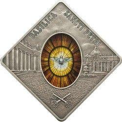 5645 # PALAU $10 2011 PRATA PROOF Ø42x42mm Série Vitral II: Basilica de São Pedro Apenas 999 exemplares!!!