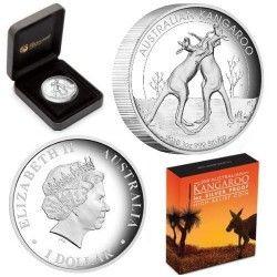 5707 # AUSTRALIA 1 Dollar 2010 Prata Proof Ø32mm Moeda com Canguru em alto relevo.