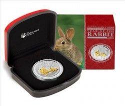 5736 # AUSTRALIA 1 Dollar 2011 Prata Proof-Like Ø46mm ano do coelho com detalhe dourado