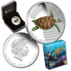 5746 # AUSTRALIA 50 Cents 2011 Prata Proof Ø37mm 2º série vida marinha: Tartaruga