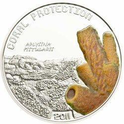 5774 # TUVALU 1 Dollar 2011 PRATA PROOF Ø35mm Proteção de Corais II