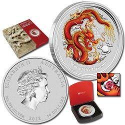 5776# AUSTRALIA $30 2012 Prata 1 kilo UNC ano do dragão COLORIDO com olho de RUBI