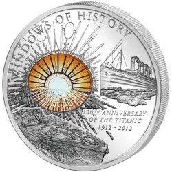 5818# ILHAS COOK $10 2012 Prata Proof 50mm TITANIC c/ detalhe em vidro transparente Tiragem: 2000 pçs!