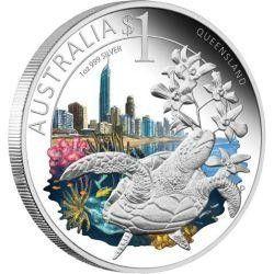 5830 ¤RARA¤ AUSTRALIA 1 Dollar 2010 Prata FC Ø41mm Série Celebrate - Queensland