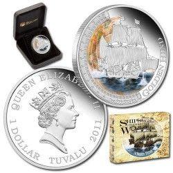 5845 # TUVALU 1 Dollar 2011 Prata Proof Ø41mm Série Navios que mudaram o Mundo - Golden Hind